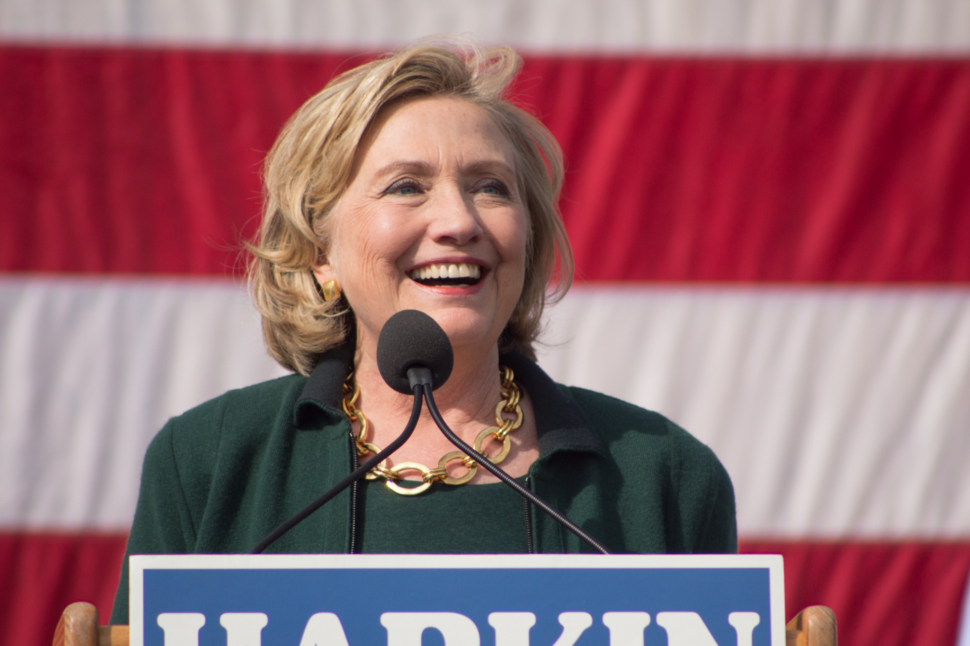 Hillary Clinton speaks at the 2014 Harkin Steak Fry in Indianola, IA. Seven months later Clinton announced she would be running for president. (Photo credit: Gregory Hauenstein)