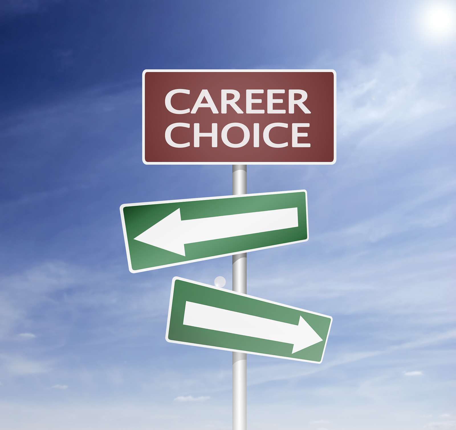 Career choices point in different directions. Finding the right one sometimes requires a change. (Photo retrieved from artiomp at bigstockphoto.com)