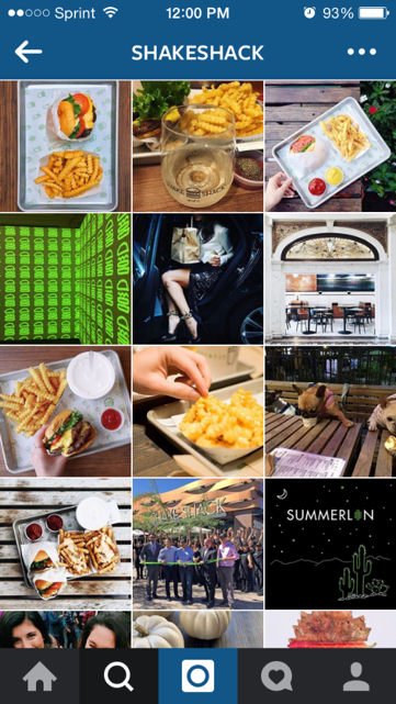 Shake Shack's profile on Instagram is a great example of a quality brand image.