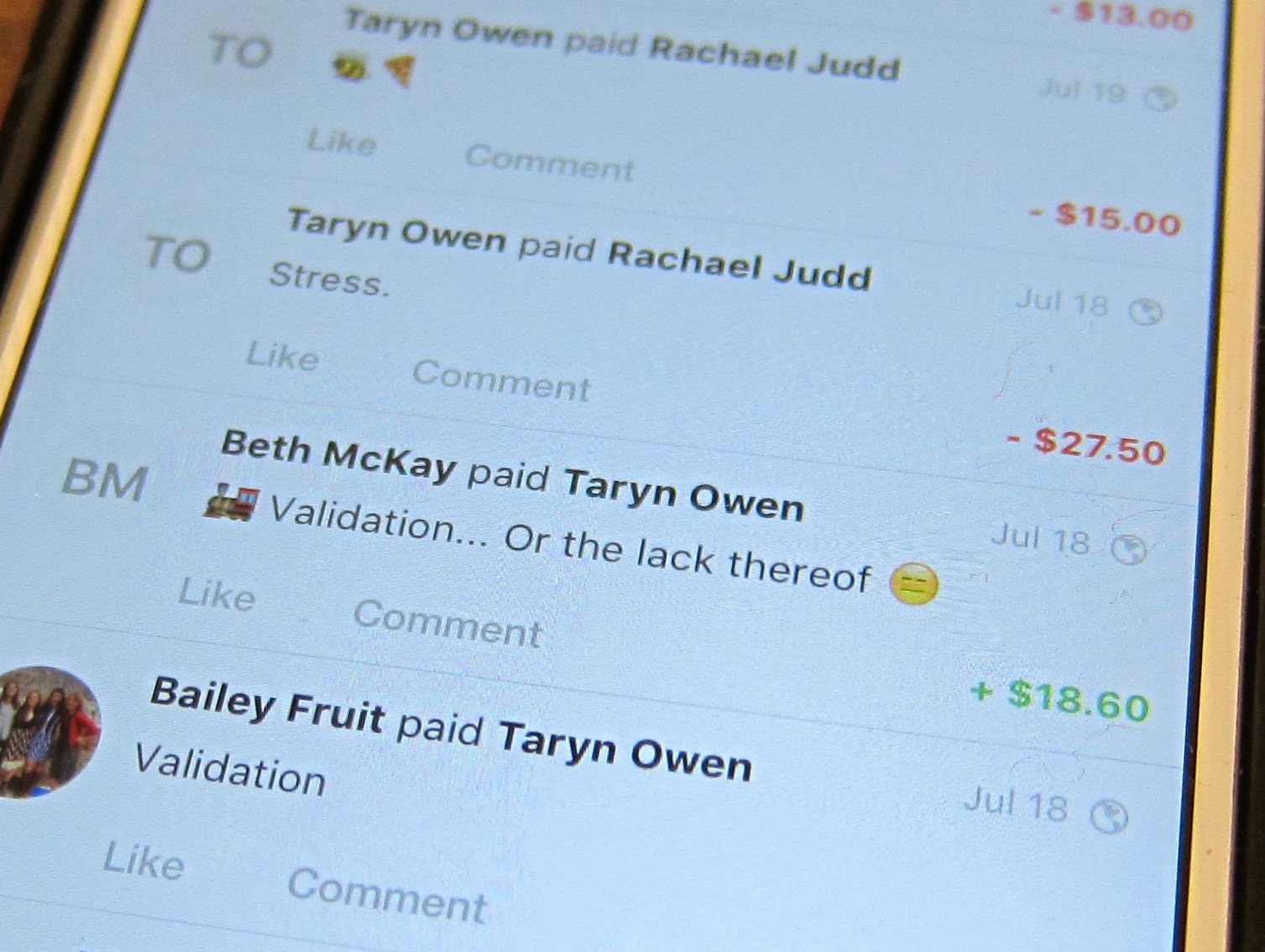 Adding messages to your Venmo transactions helps you keep track of them. (Taryn Owens)