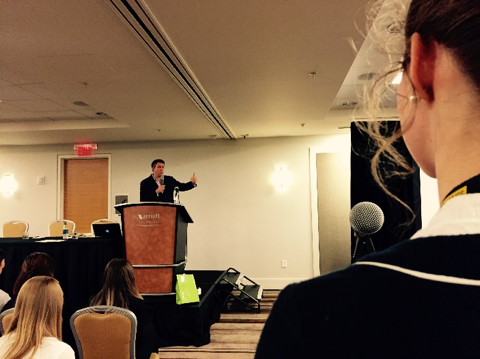 A 45 minute Q&A with Christopher Harvin allowed students t0 discuss ethical concerns when working with international clients during the PRSSA National Conference in Atlanta on Nov. 9, 2015. (Photo credit: Ashley Lovell)