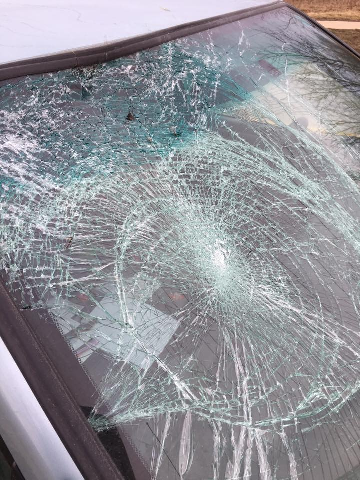 According to Josh, the turkey hit the windshield so hard that the windshield collapsed inwards at the location of impact. (Photo courtesy of Josh Kutterer)