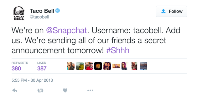 Taco Bell used to Snapchat to reveal its new Quesalopa. (Twitter, @TacoBell)