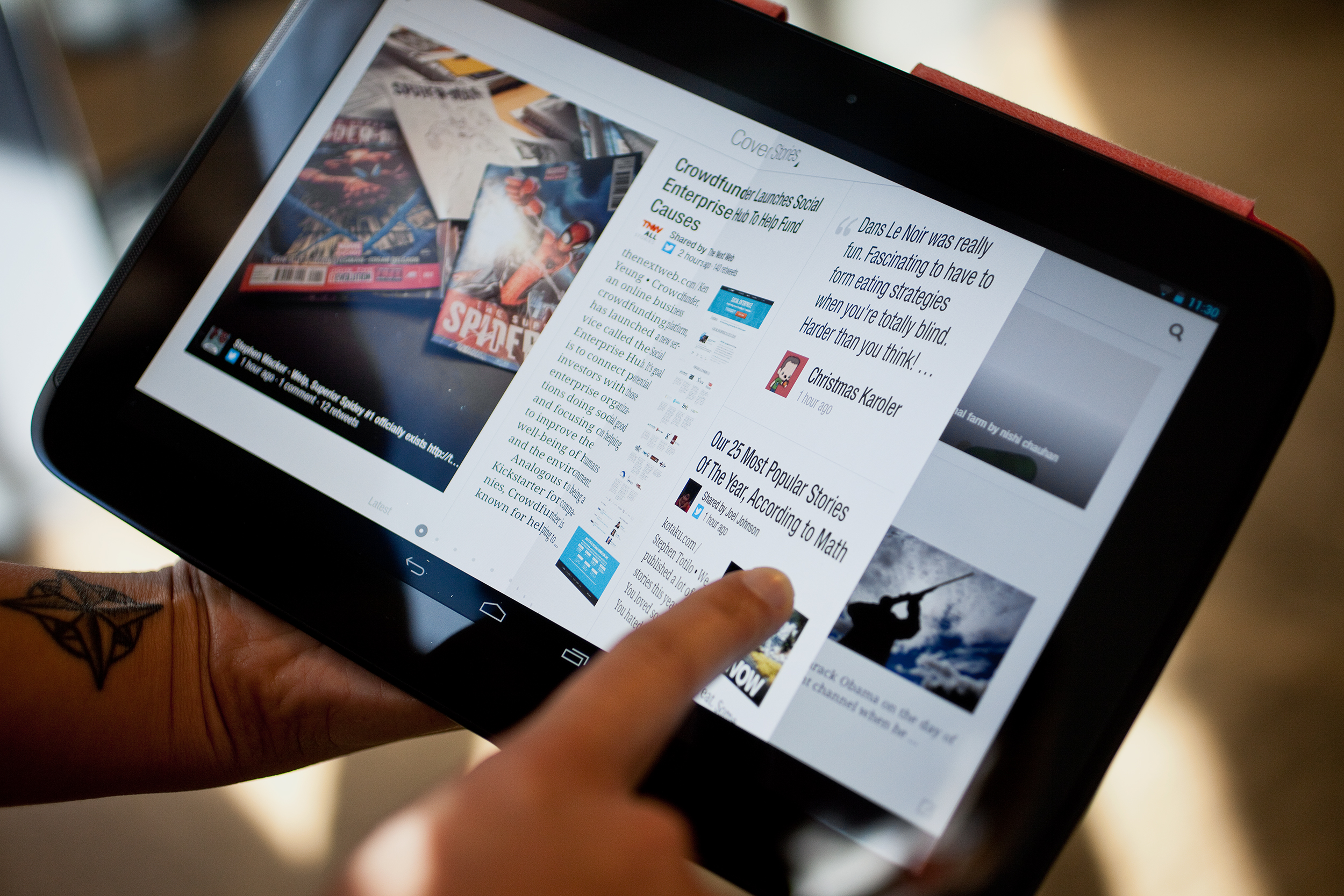 Flipboard offers unique magazine style experience with flipping interface. (http://www.wired.com/tag/flipboard/)