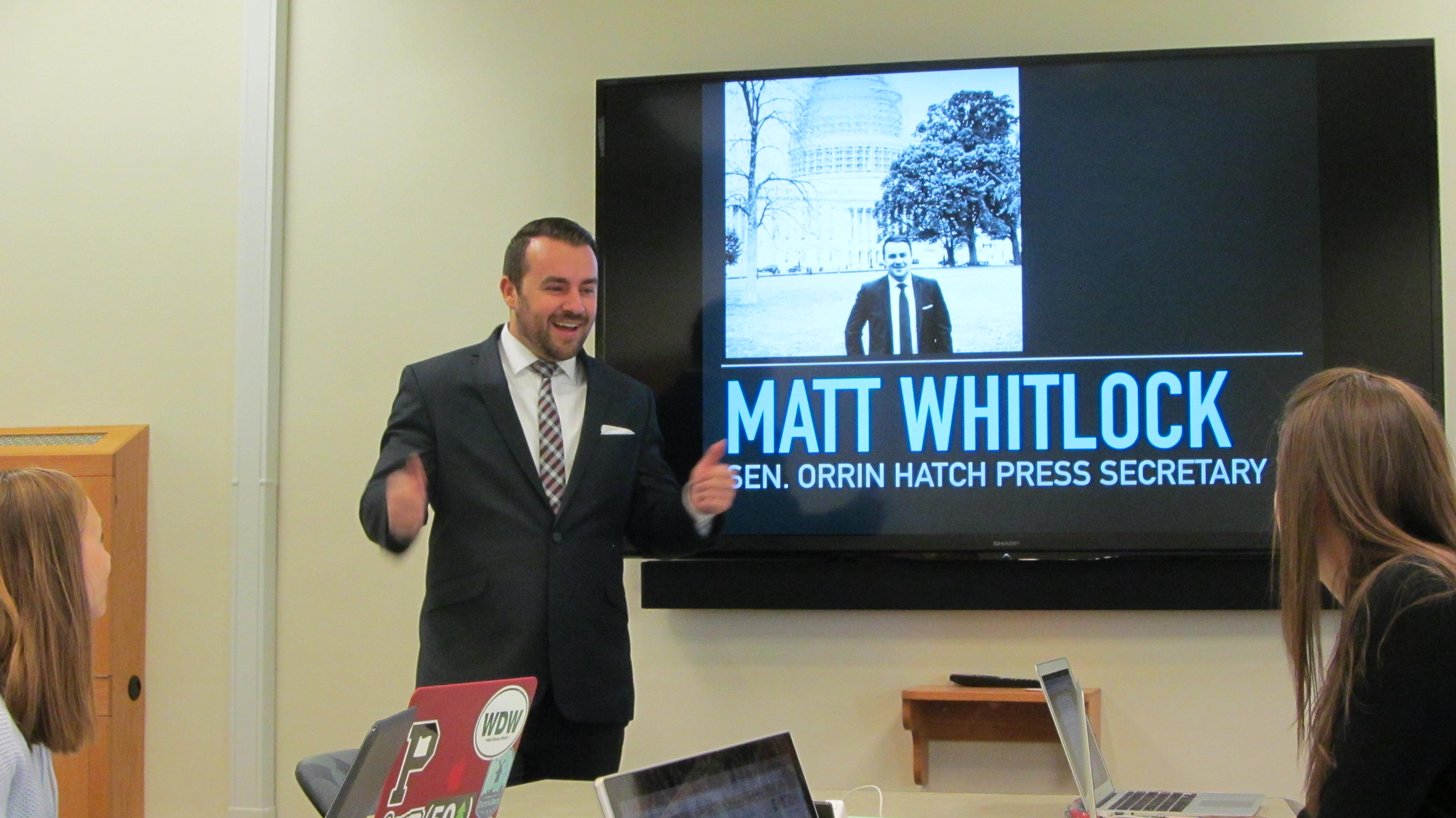 "Matt Whitlock gives a ""thumbs up"" while talking about the exciting field of public relations in a presentation to BYU students on Oct. 13, 2016. (Source: Calvin Petersen)"