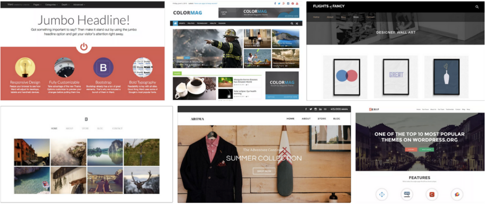 Pre-built website themes and templates to choose from. (Source: Screenshots from both wordpress.com and weebly.com.)