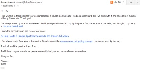 A sample email for how to build mutually beneficial relationships. (Source: Jesse Sumrak)