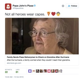So far, it appears Papa John's Pizza isn't using the extraordinary delivery and service as part of any additional publicity or marketing efforts. The only mention of this incredible customer success story is one Tweet on the official Papa John's Pizza Twitter account. (Source: Papa John's Pizza Twitter)