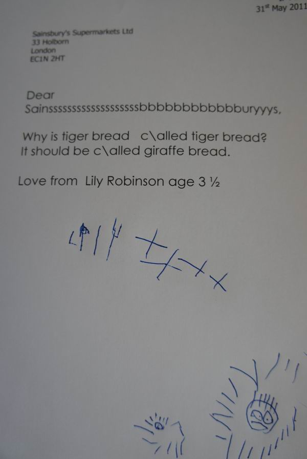 Lily Robinson illustrates her letter to Sainsbury's with a picture of a tiger and her imaginary pet. (Source: jamandgiraffes.com)