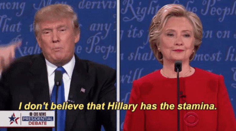 Potential leaders of the free world, Donald Trump and Hillary Clinton, duking it out  like 4th graders on national television (Source: Giphy.com)