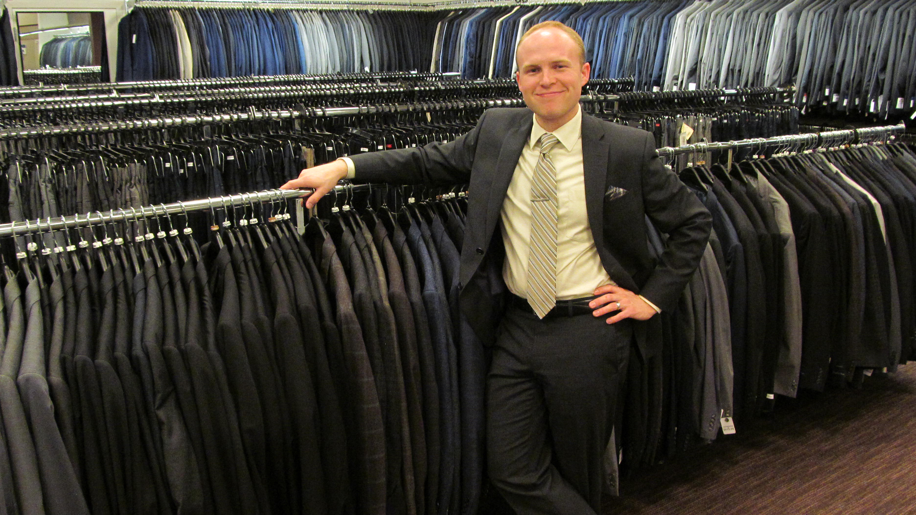 Although I sell suits, my official title at Men's Wearhouse is Wardrobe Consultant. I make  suggestions about style and fit based on years of experience. I pride myself on giving my customers  world-class customer service, which has taught me a lot about PR. Photo credit: Calvin Petersen, 2016.