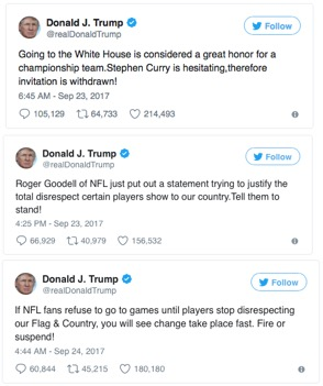 President Trump's tweets to the NFL and NBA caused an upheaval in sports. Photo credit: Twitter