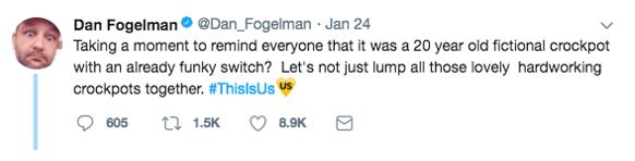 This Is Us creator Dan Fogelman tweeted in defense of Crock-Pot. Screenshot from Twitter.com.